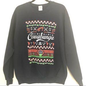 TeeFury Navy Blue TMNT Ugly Christmas Sweater